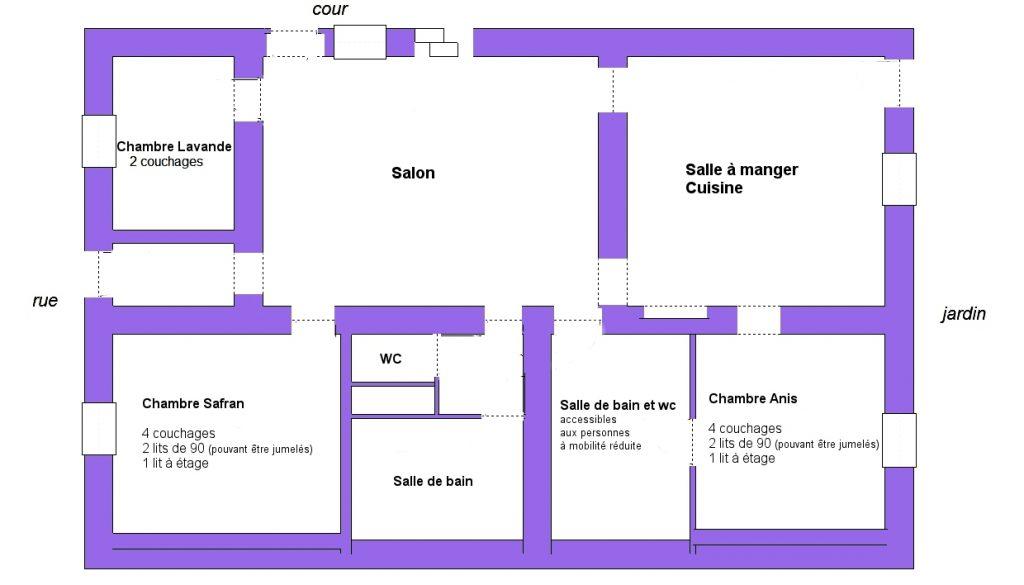 Salle De Bain Accessible Personnes à Mobilité Réduite, Handicapé, Pmr. Le  Plan Du Gîte. Gîte Du Fourmilion